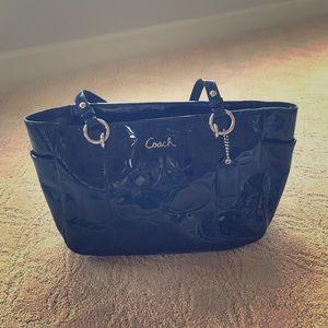 Coach Navy Blue patent satchel